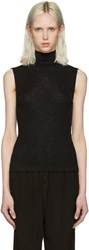 Alexander Wang T By Black Ribbed Sleeveless Turtleneck
