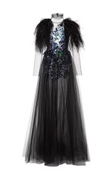 Monique Lhuillier Long Sleeve Embroidered Gown With Feathers Black