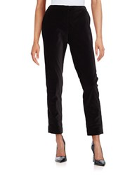 T Tahari Tina Ankle Length Straight Velvet Dress Pants Black