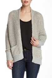 French Connection Gridlock Sparkle Wool Blend Cardigan Gray
