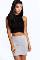Boohoo Mini Bodycon Jersey Skirt Grey Marl