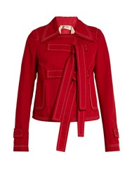 N 21 Tie Front Cotton And Linen Blend Jacket Red
