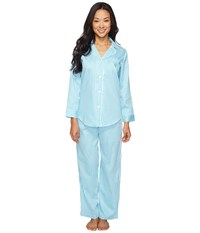 Lauren Ralph Lauren Petite Notch Collar Sateen Striped Pj Stripe Turquoise Women's Pajama Sets Blue
