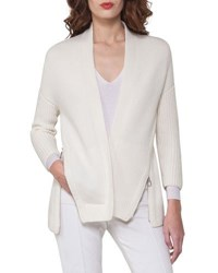 Akris Side Zip Ribbed Cashmere Cardigan Off White