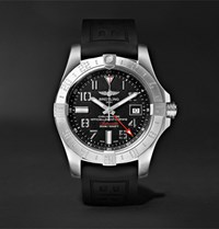 Breitling Avenger Ii Gmt Automatic 43Mm Steel And Rubber Watch Black