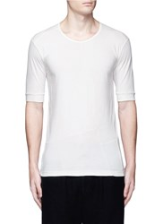 The Viridi Anne Contrast Seam Cotton T Shirt White