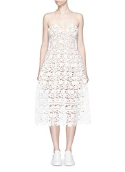 Self Portrait 'Azaelea' Floral Lace Spaghetti Strap Dress White