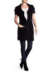 Vertigo Genuine Rabbit Fur Trim Knit Cardigan Black