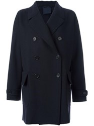 Aspesi Double Breasted Cocoon Coat Blue