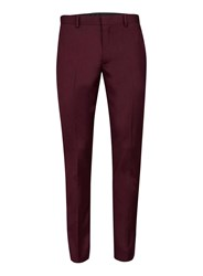 Topman Red Burgundy Twill Skinny Fit Suit Trousers