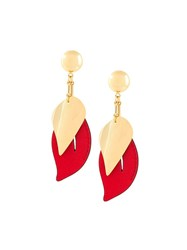 Marni Contrasting Panel Clip On Earrings Red