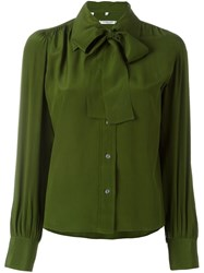 Celine Vintage Pussy Bow Shirt Green