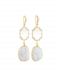 Indulgems Cz Crystal And Baroque Pearl Double Drop Earrings White