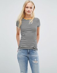 Pieces Raya Stripe T Shirt Black