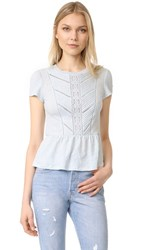 Rebecca Taylor Short Sleeve Linen Lace Tee Sea Spray