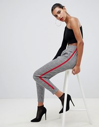 Boohoo Check Cuffed Jogger With Side Stripe Gray