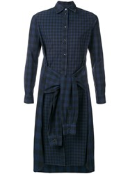 Jean Paul Gaultier Vintage Double Sleeves Checked Shirt Blue