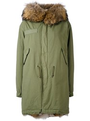 Mr And Mrs Italy Army Long Parka Men Cotton Lamb Skin Polyamide Coyote Fur M Green