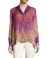 Etro Mandala Print High Low Silk Blouse Pink Purple