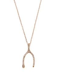 Aamaya By Priyanka Topaz And Rose Gold Plated Wishbone Necklace