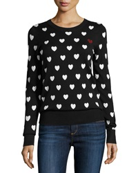 French Connection Heart Print Knit Sweater Black White