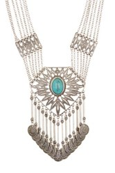 Stephan And Co Textured Pendant Statement Necklace Blue