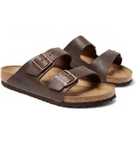 Birkenstock Arizona Oiled Leather Sandals Dark Brown