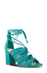 Nine West Women's Genie Lace Up Sandal Dark Turquoise Suede