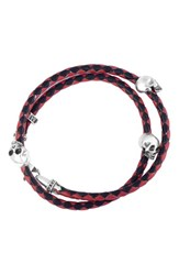King Baby Studio Men's Braided Leather Skull Bracelet Red Black Red Black