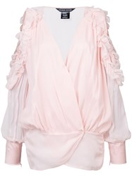 Thomas Wylde Off Shoulder Ruffle Blouse Pink And Purple