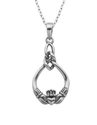 Lord And Taylor Claddagh Celtic Knot Pendant Necklace Silver
