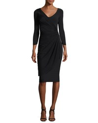 La Petite Robe Di Chiara Boni Naomi 3 4 Sleeve Mesh And Jersey Cocktail Dress Black