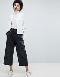 Selected Femme Leather Wide Leg Cropped Trouser Black