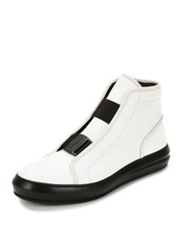 Salvatore Ferragamo Ground Buckle Front Calfskin High Top Sneaker White