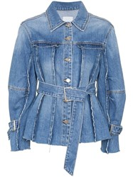 Sjyp Raw Seam Belted Denim Jacket Blue