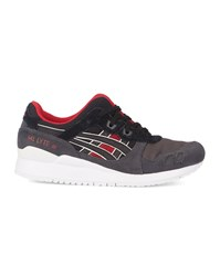 Asics Black Grey And Red Gel Lyte Iii Suede Sneakers