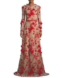 David Meister Two Tone 3D Floral Trumpet Gown Red