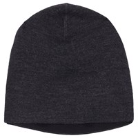 Winser London Double Face Wool Blend Beanie Hat One Size Charcoal Marl Black