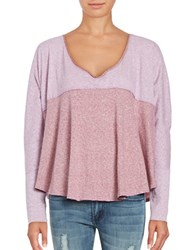 Free People Cloud Nine Long Sleeve Colorblocked Tee Purple