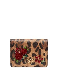 Dolce And Gabbana Leopard Print Dauphine Leather Wallet Leopard