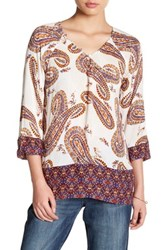 Lucky Brand Paisley Printed Blouse Beige