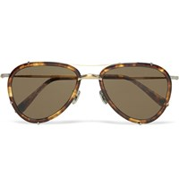 Eyevan 7285 Aviator Style Tortoiseshell Acetate Polarised Sunglasses Brown