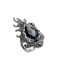 Bavna Black Spinel And Sterling Silver Ring