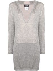 Chanel Vintage Hooded Long Sweater Grey