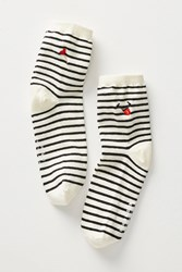 Richer Poorer Sailor Striped Crew Socks White