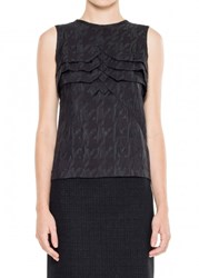 Leon Max Magnified Houndstooth Sleeveless Shell
