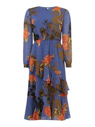 Biba Printed Romantic Ruffle Dress Blue Multi