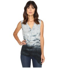 Michael Stars Haze Print Asymmetric Shell Oxide Women's Clothing Blue