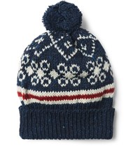 Thom Browne Fair Isle Wool And Mohair Blend Bobble Hat Navy