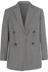 Brunello Cucinelli Double Breasted Wool And Linen Blend Blazer Gray